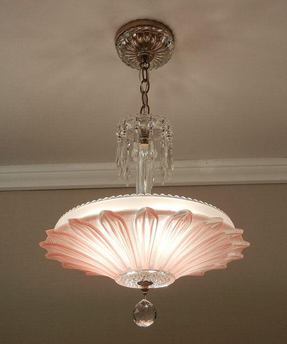 Vintage 1930s Art Deco Pink Square Glass Ceiling Light Fixture – Pink Glass Chandelier