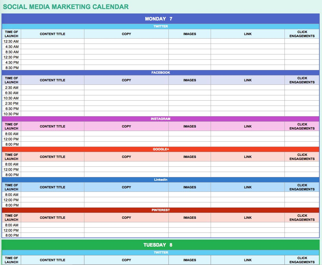 Free Marketing Calendar Templates For Excel  Smartsheet  Boss