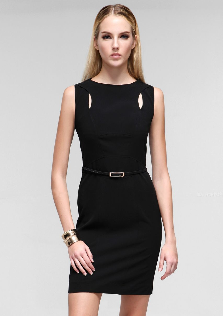 Morpheus boutique black designer hollow out sleeveless pencil