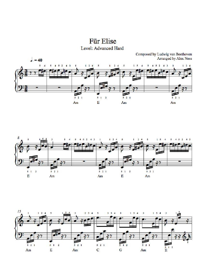 Fur Elise By Ludwig Van Beethoven Piano Sheet Music Advanced