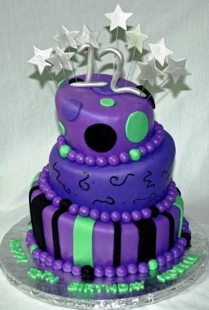 Purple Topsy Turvy 12th Birthday Cake Noelle