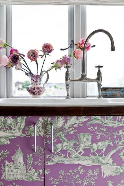 Wallpapered Kitchen Cabinet Doors Google Search Dream Catcher