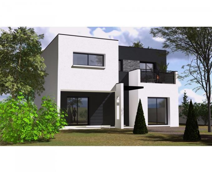 Cette maison moderne en R+1 aux volumes cubiques vous offre au rez - salon sejour cuisine ouverte