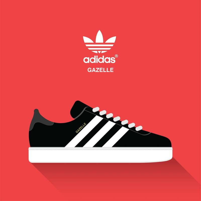 Adidas gazzette vector drawn sport shoes, sneakers for summer. Vector stock  illustration. Sport wear for men and women. Flat design. Adidas Trimm Trab