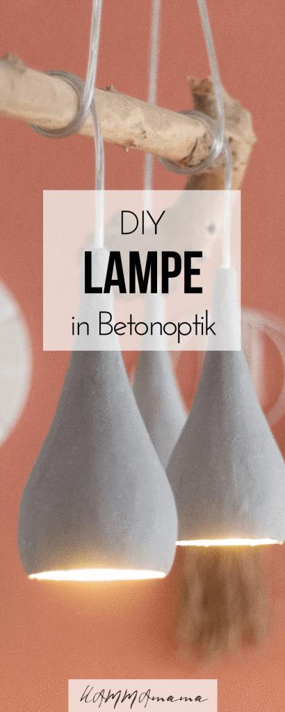 Lampe in Beton Optik und mit Holzstamm selber machen ° Ein