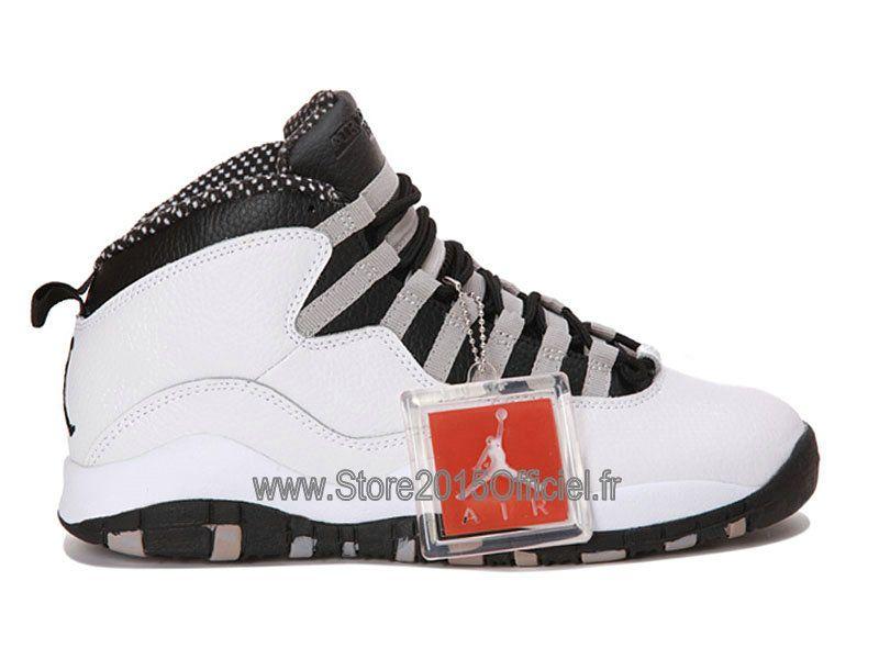 promo code 81ffb 87ad2 ... low cost air jordan 10x retro chaussures baskets jordan pas cher pour  homme blanc noir 310805