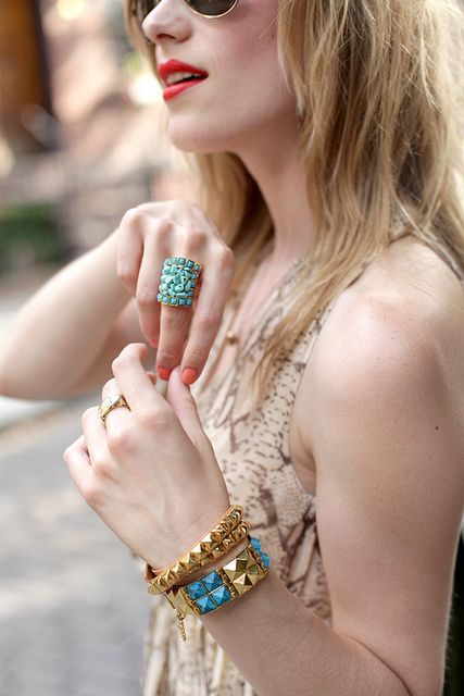 gold and blue jewels