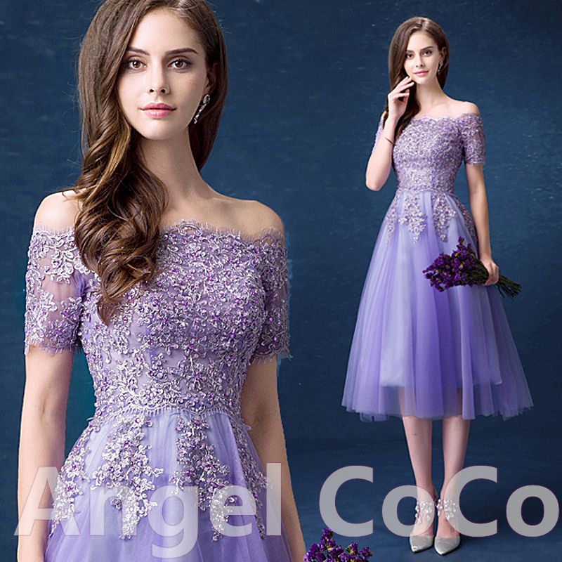 Purple Robe De Soiree Sexy romantic Luxury Short Cocktail dresses ...