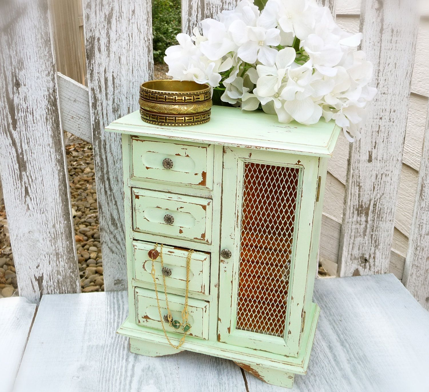 Light Green Shabby Chic Jewelry Box Upcycled Vintage Wood Jewelry