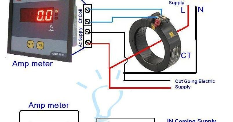 Digital Ammeter Wiring With Current Transformer  CT Coil