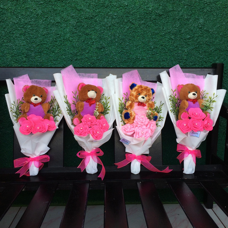 Bouquet pink teddy bear for wedding graduate graduation