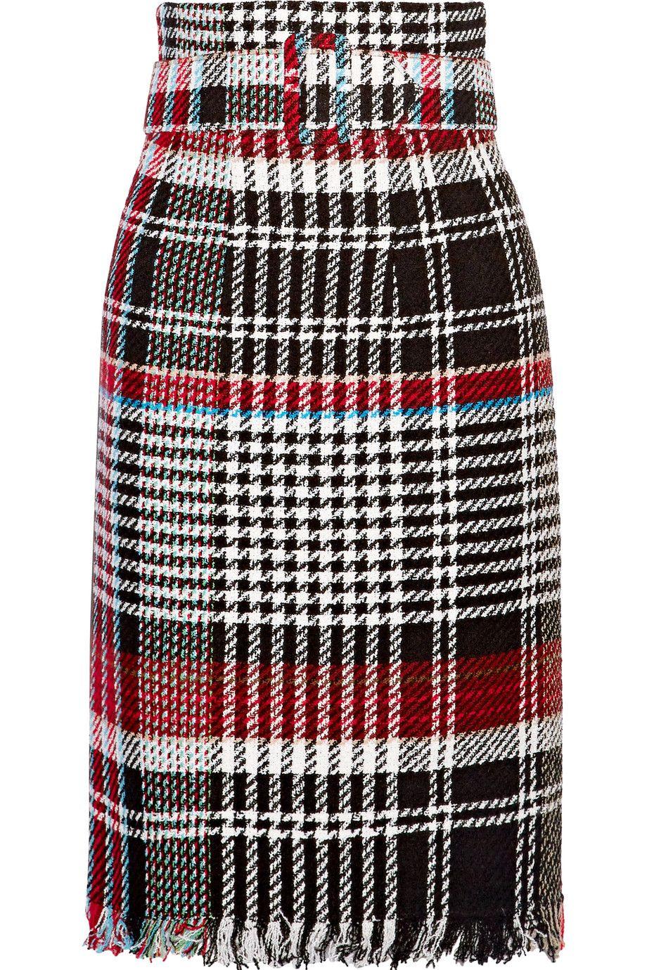 8ff586afbb Oscar de la Renta   Belted fringed checked cotton-blend tweed skirt    NET-A-PORTER.COM