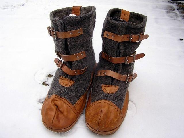 Lata 40 50te Skandynawskie Skorzano Filcowe Nakladki Na Buty Winter Gear Fisherman Sandal Sandals