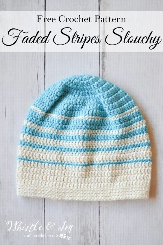 Women\'s Faded Stripes Slouchy Hat Crochet Pattern