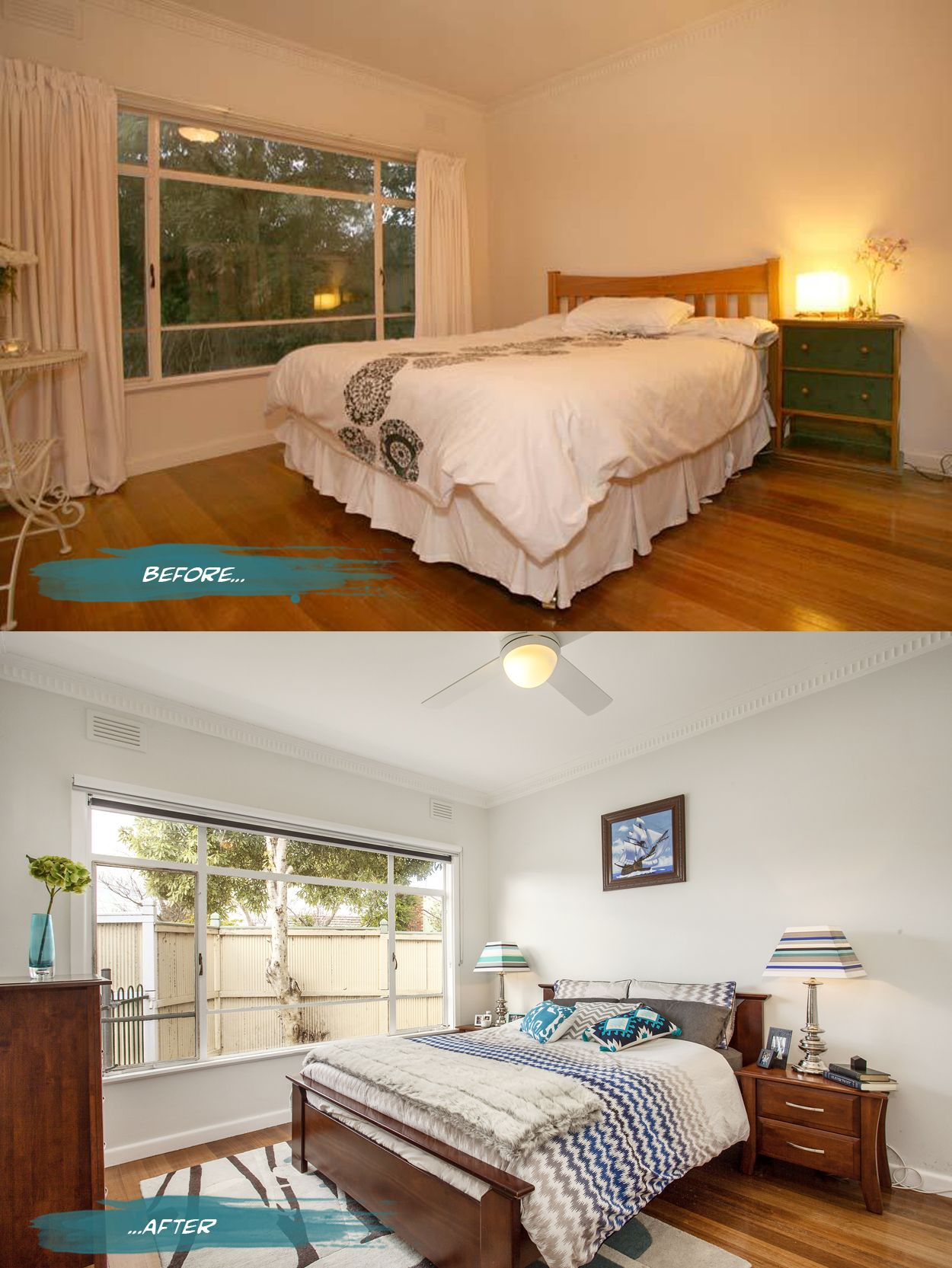 chic room renovation before and after with wooden floor also shades window and lamps table the bedside - Home Styling Blog