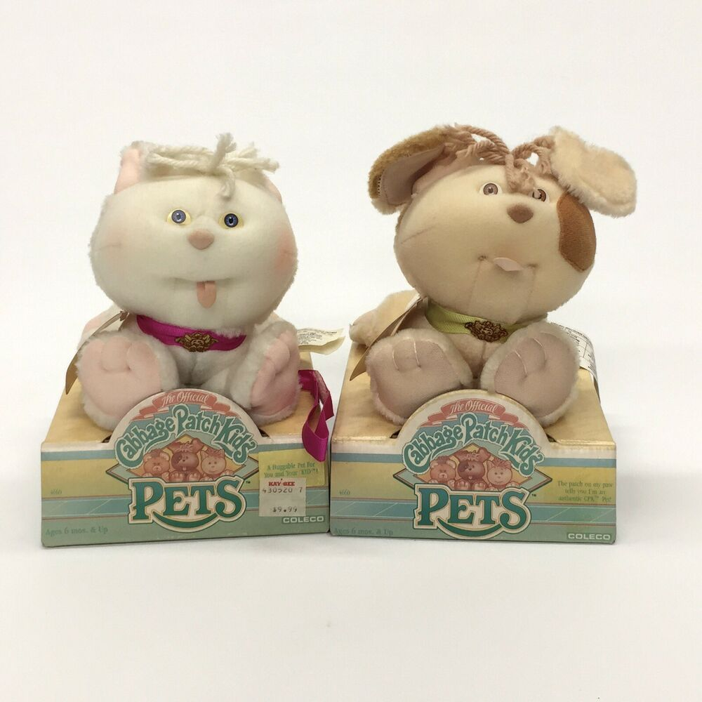 Cabbage Patch Kids Pets Kitty Cat Puppy Dog Plush Doll 1986 New Original Boxes Cabbagepatchkids Animals For Kids Cabbage Patch Kids Patch Kids