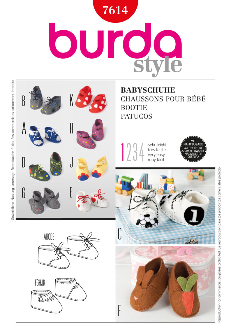 BD7614 Baby Booties | Very Easy | Sewing patterns | Pinterest