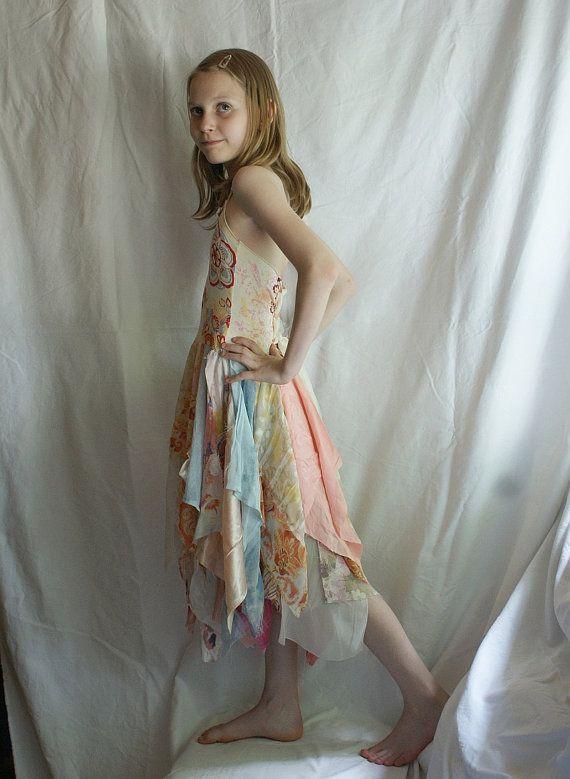 Tunic Junior Bridesmaid  Dress Pastel Wedding Flowers by cutrag, $88.88