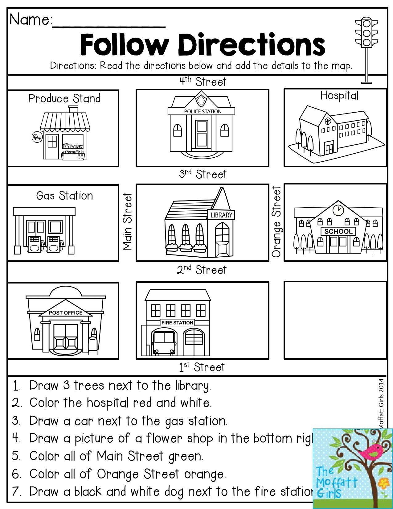Follow Directions- Read the directions and add the details to the map. Fun  activity t…   Kindergarten social studies [ 1650 x 1275 Pixel ]