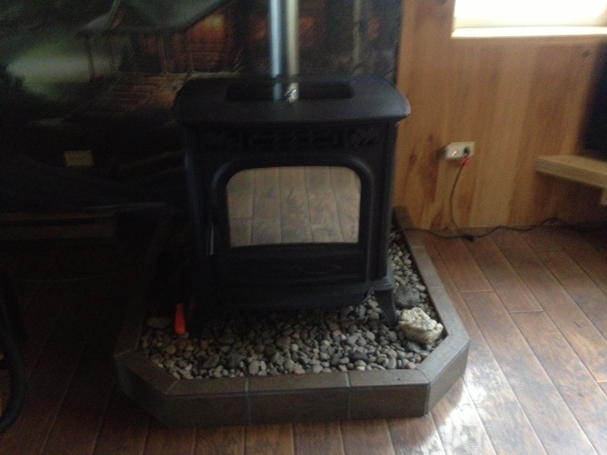 Hearth Pad Made With Cinder Blocks And