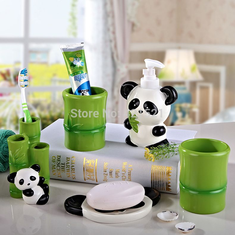 Etonnant Panda Resin Five Pieces Bath Set,Bathroom Set,Bathroom Accessories,Creative  Wedding /