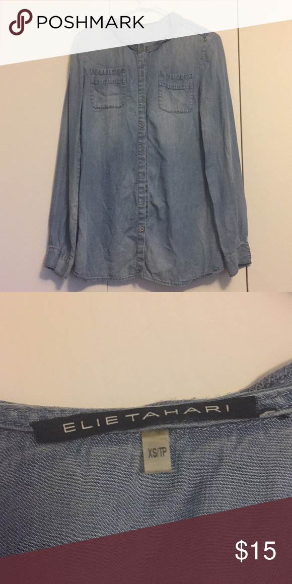 1201bea255a33 Elite tahari denim duster or dress Great used condition Elie Tahari Tops  Button Down Shirts