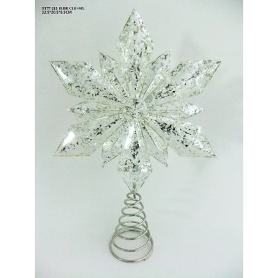 Light Up Silver Glitter Acrylic Snowflake Christmas Tree Topper Bright White LED