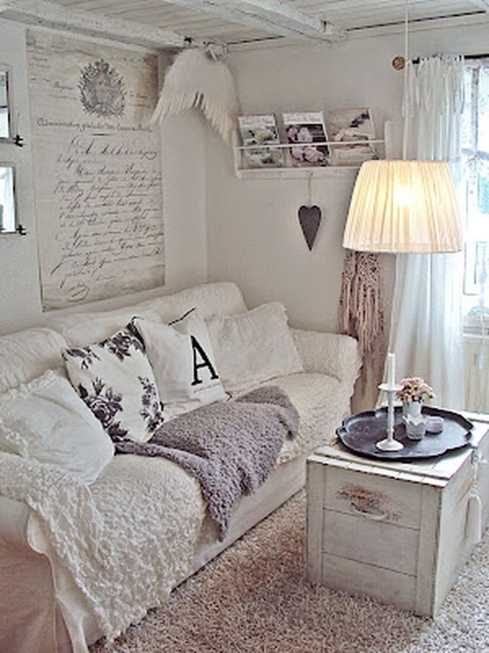 Best Beautiful White Shabby Chic Living Room Decoration Ideas 640 x 480