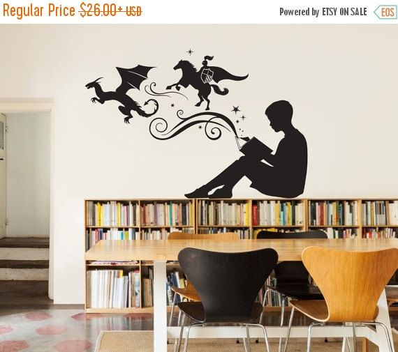 Vinyl Wall Decal Open Book Quote Reading Room Library Decor Stickers Mural Unique Gift Ig5184 Library Decor School Library Decor Library Wall