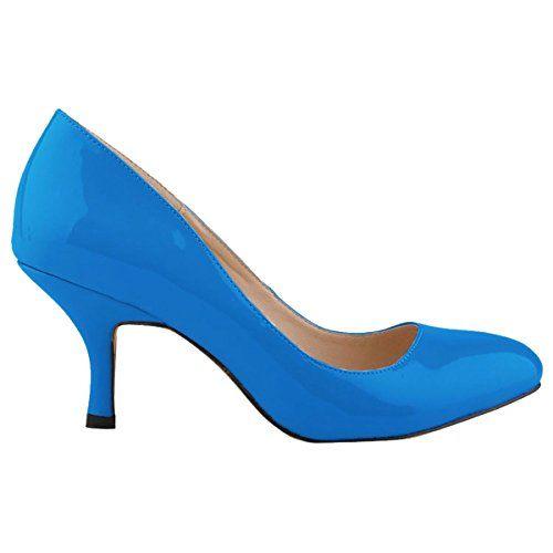 c6dcfe4396abd Zbeibei Women's PU Patent Leather Mid Heels Work Court Pumps ...
