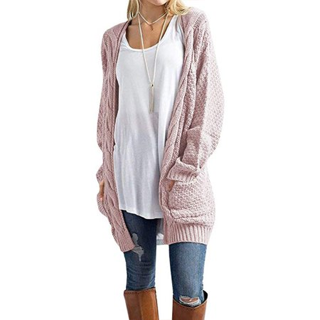 Isaac Liev - Women's Open Front Long Sleeve Boho Boyfriend Knit Chunky Cardigan Sweater - Walmart.com