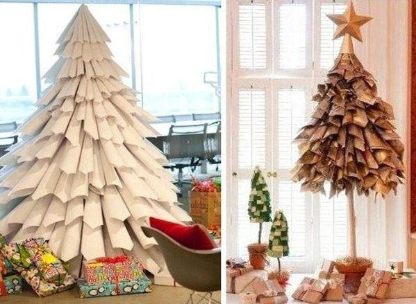 Faire un sapin de no l en papier id es d cos no l papier art pin - Comment faire un sapin en carton ...