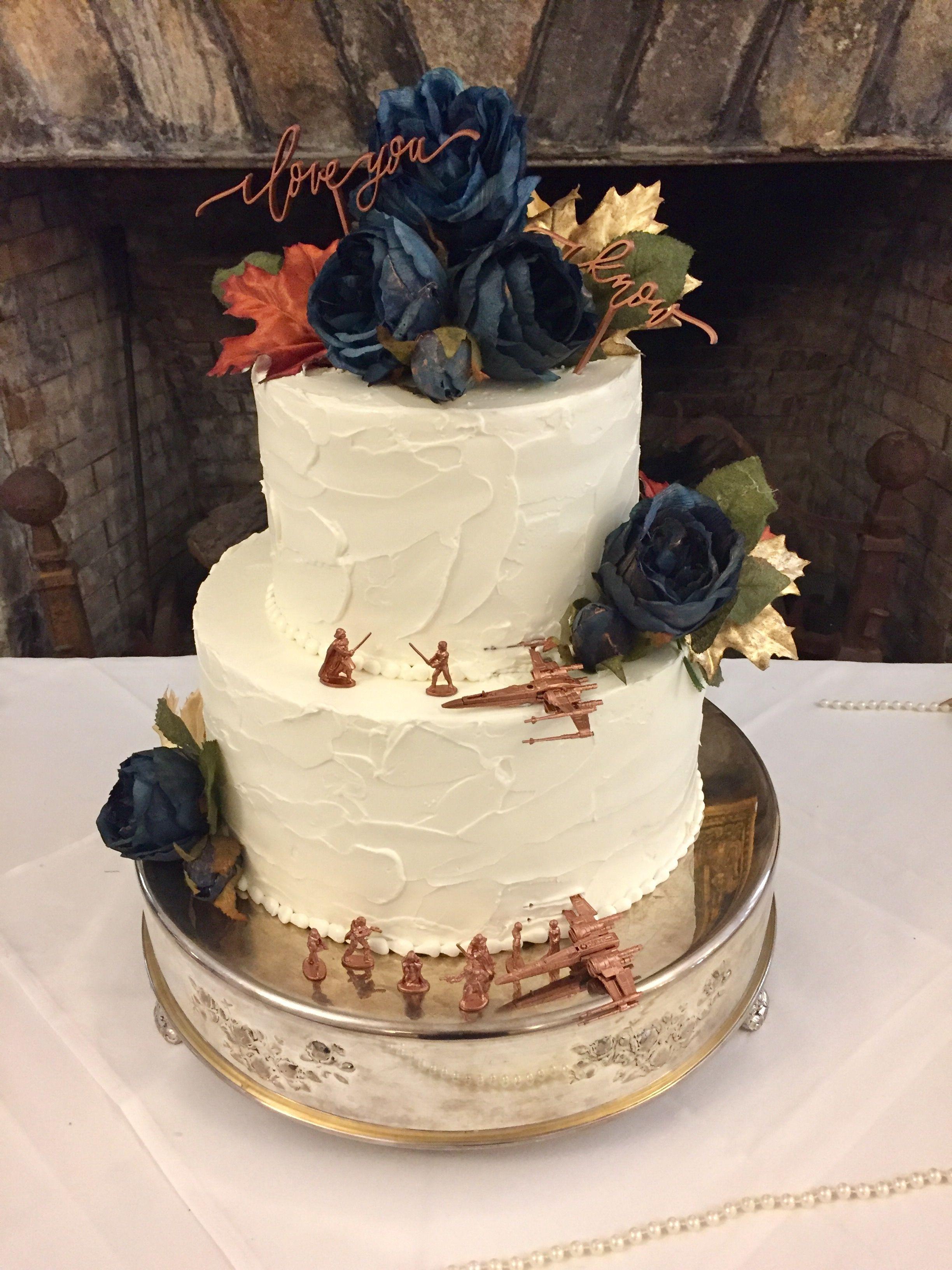 Rusticelegant Buttercream Wedding Cake Garnished With Silk Flowers