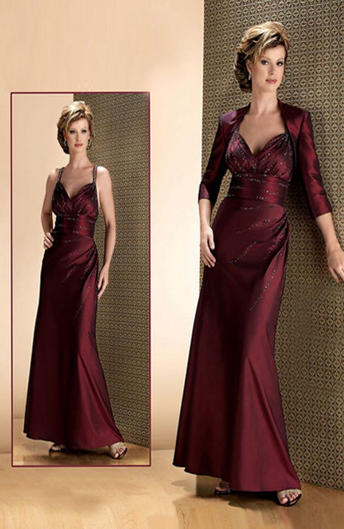 Sheath V Neck Empire Waist Pleated Long Taffeta Spaghetti Straps Red Mother Of The Bride Dress