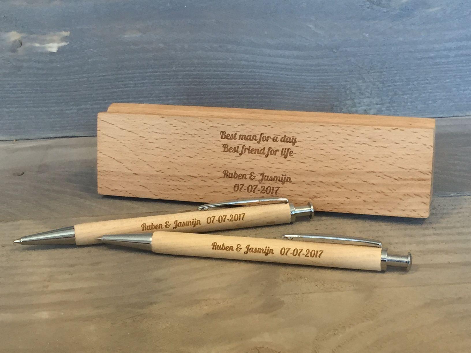 Houten pennenset voor ruben en jasmijn het is een