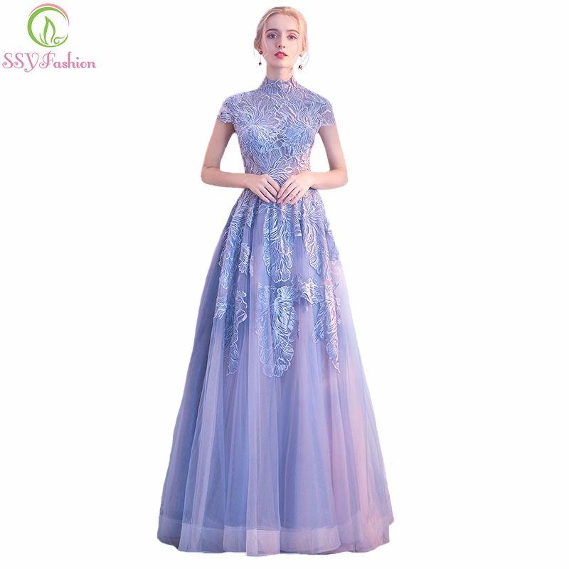 SSYFashion New Lace Evening Dress The Banquet Elegant High-neck Grey ...