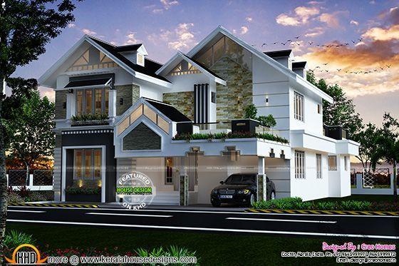 Best Modern Sloped Roof Luxury House Kerala House Design 400 x 300