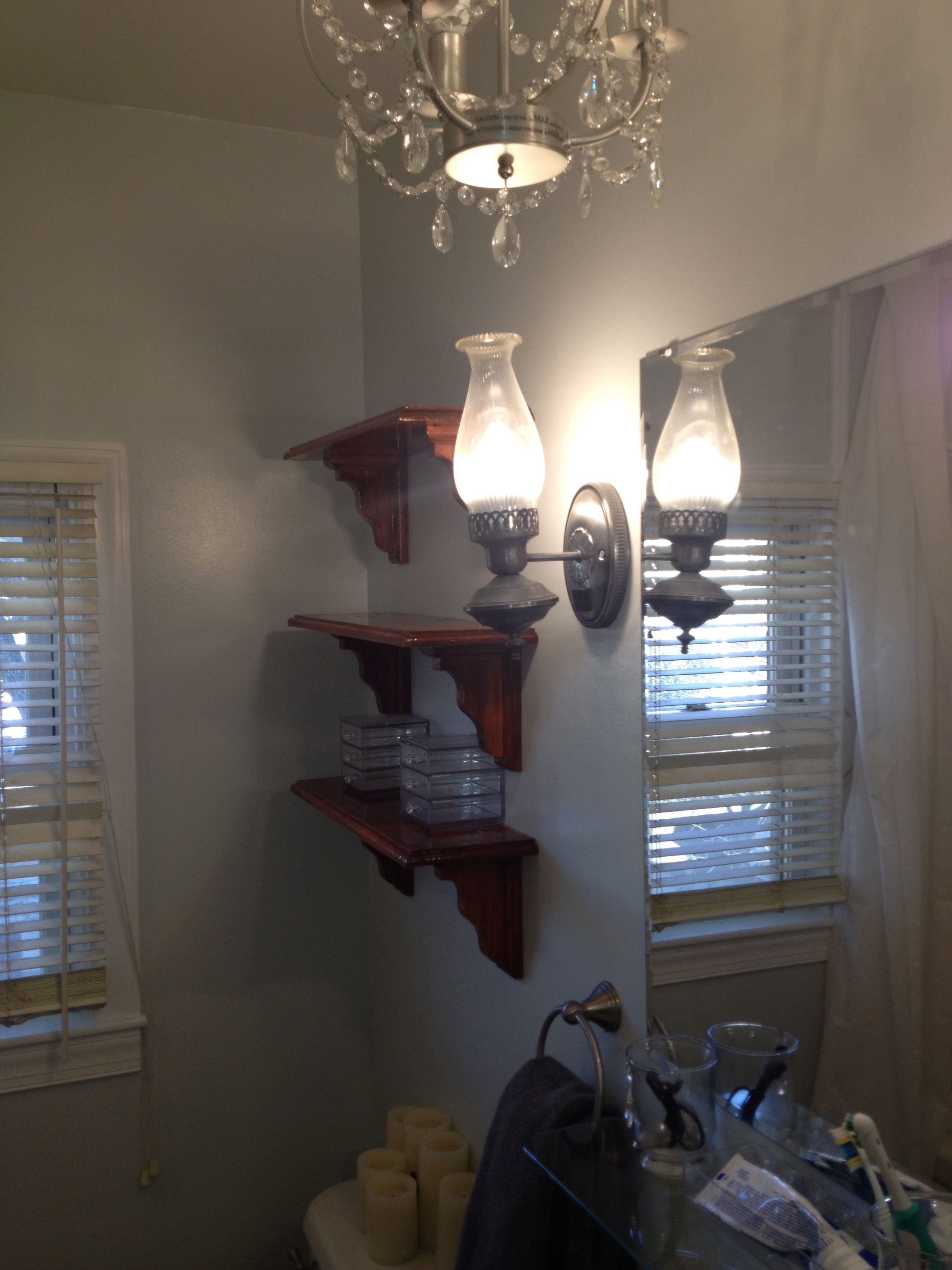Chandelier (from ikea) scones from anqitue store then rewired ...