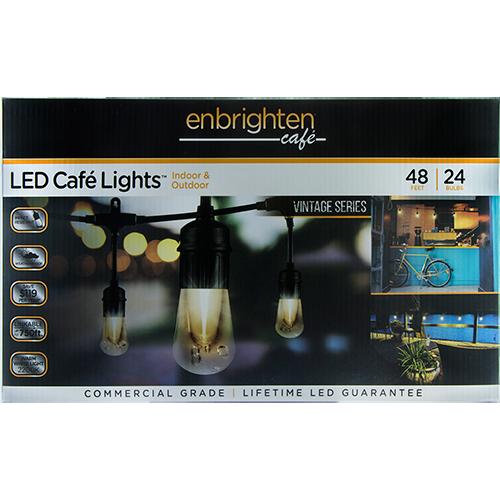 Enbrighten Cafe Lights Vintage Series 48ft 24 Bulbs Cafe Lights Led Lights Lights