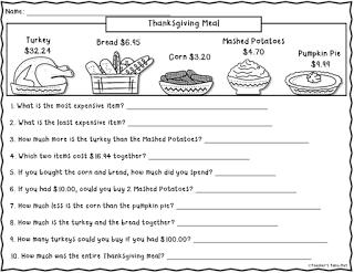 Free Thanksgiving Meal Worksheet | Thanksgiving math ...