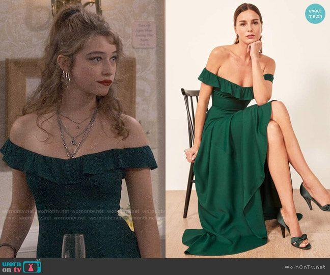 Shannon's Green Off-shoulder Dress On Fam In 2020