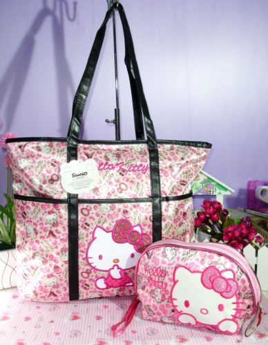 NEW-HELLOKITTY-SHOPPING-TOTE-BAG-PURSE-WITH-MAKE-UP-BAG-GO-188256a2 ... 6c3d4f97560b3