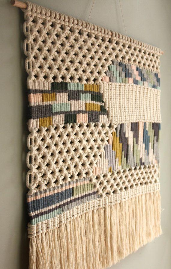 tiss e tenture murale macram patchwork macrame. Black Bedroom Furniture Sets. Home Design Ideas