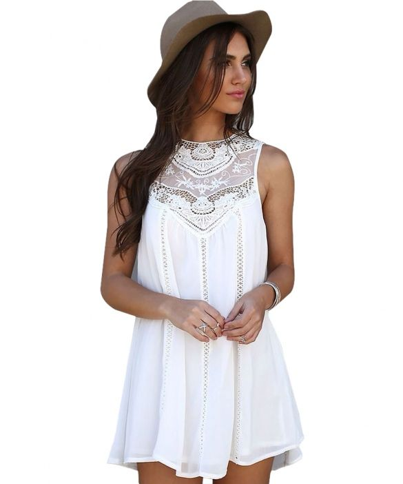 d9ab705ff Women Fashion Sexy Casual Loose Chiffon Sleeveless Hollow Crochet ...