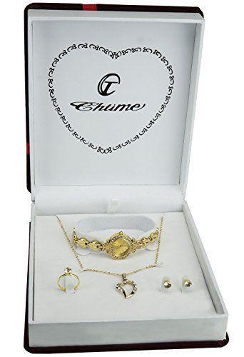 5693b3c63ea98 Coffret cadeau Montre Femme Argent- Parure de Bijoux- Collier-Bague-  Boucles d