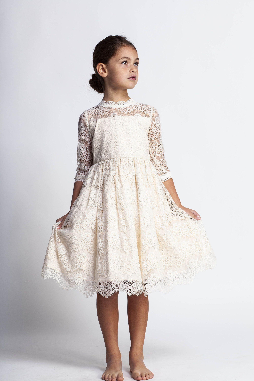 Cream Flower Girl Dressivory Lace Dressjunior Bridesmaid Etsy In 2020 Cream Flower Girl Dress Girls Formal Dresses Flower Girl Dresses