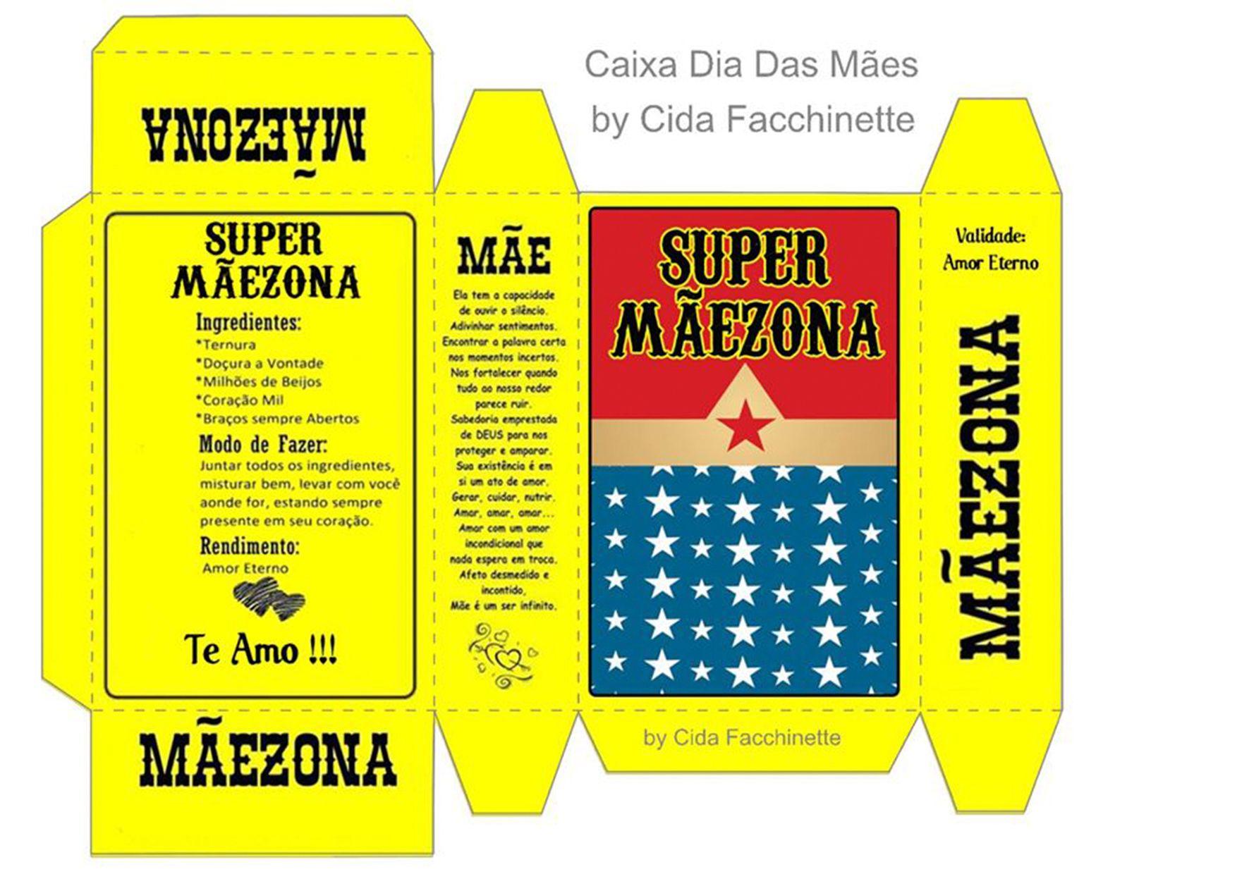 970aca25367ed4 Caixa Super Maezona | Dia da mãe | Cartões de aniversário para mãe ...