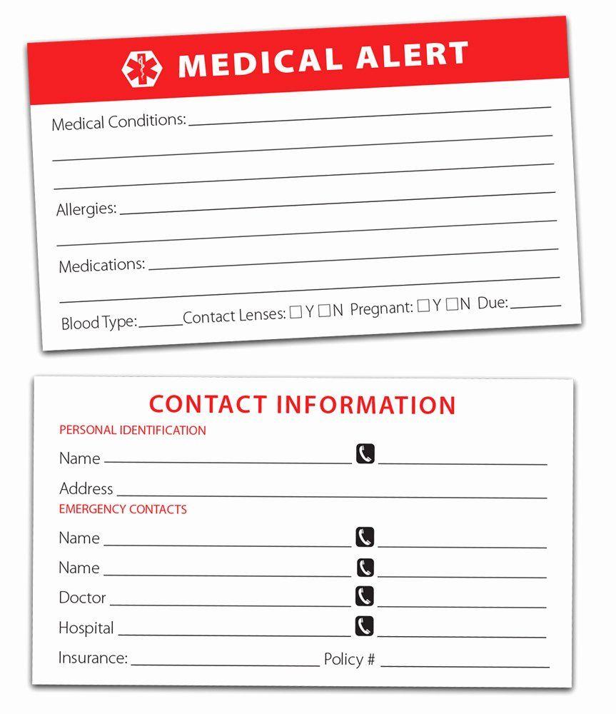 Medic Alert Card Template Best Of Medical Alert Car Emblem Kit Medical Business Card Medical Information Medical Alert
