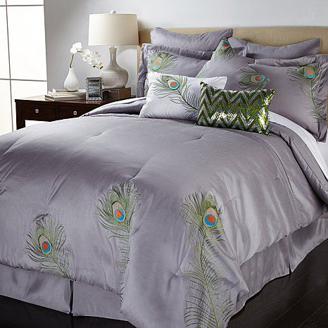 Vern Yip Home Embroidered Peacock 9 Piece Comforter Set