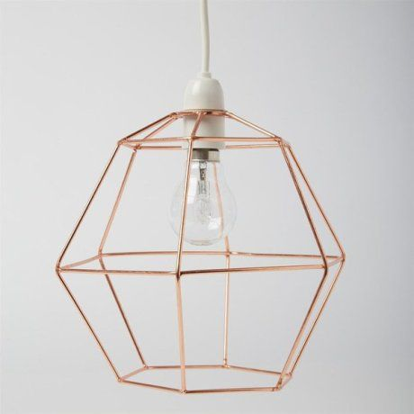Copper hexagon lamp shade trouva home accents finishings copper wire metal industrial modern lightshade ceiling pendant cage lamp shade in home furniture diy lighting lampshades lightshades greentooth Image collections